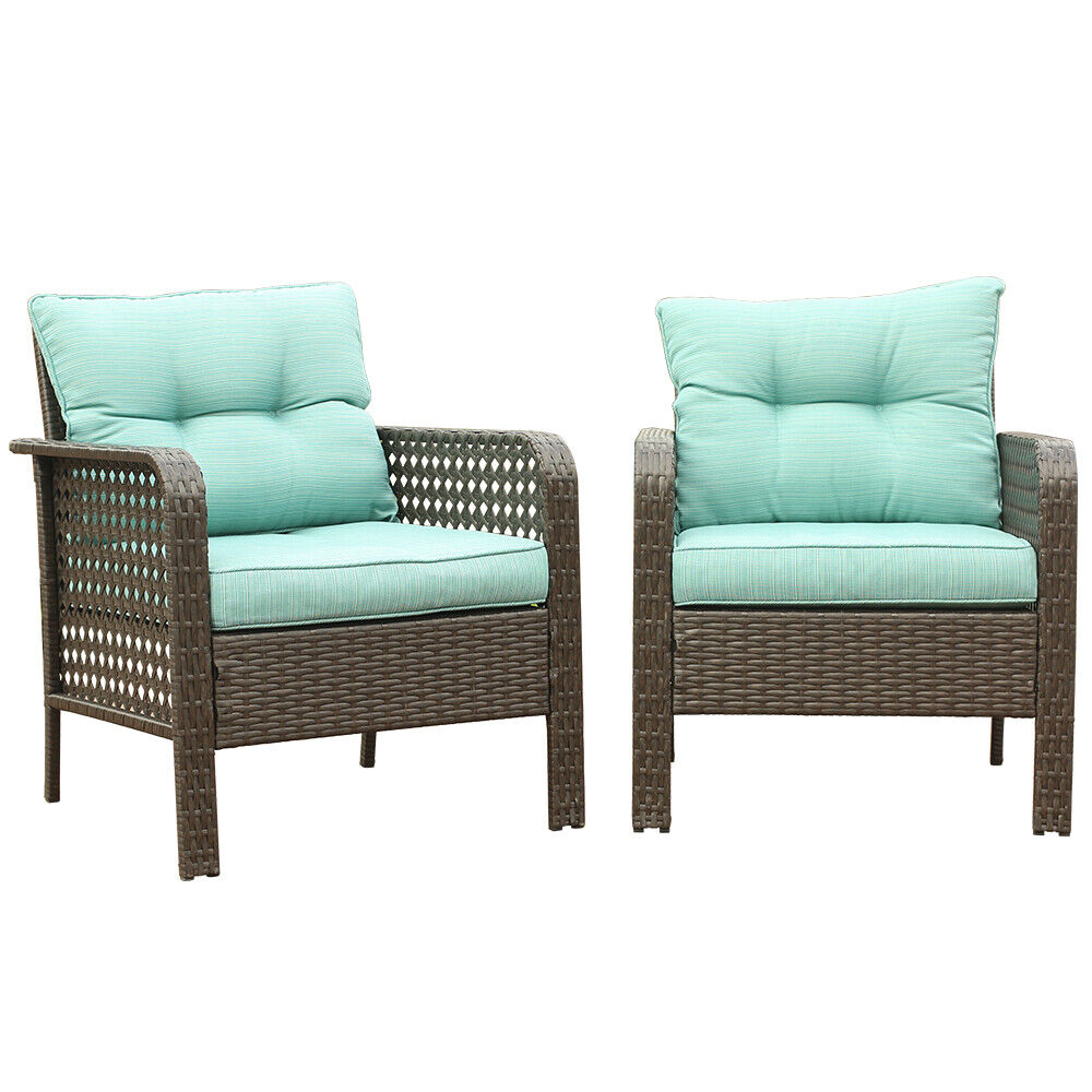 Garden Furniture - 2PC Patio Rattan Sofa Set Wicker Garden Furniture Outdoor Sectional Couch Green