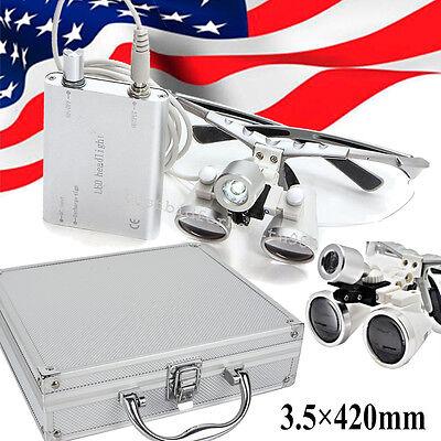 Led Headlight Silver 3.5x 420 Dental Loupes Lab Surgical Glassesportable Box