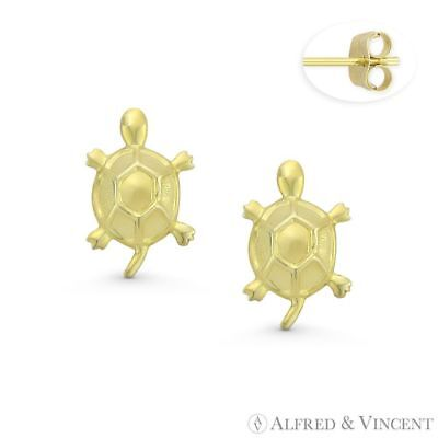 Swimming Baby Turtle Sea Life Animal Charm 14k Yellow Gold Stamped Stud Earrings