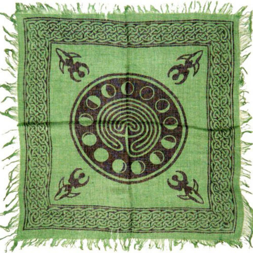 """NEW Moon Phase Labyrinth Altar Cloth 18"""" Green Rayon Fringed Goddess Wicca"""