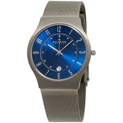 Skagen 233XLTTN Men's Watch Blue Dial Titanium Stainless Steel Mesh