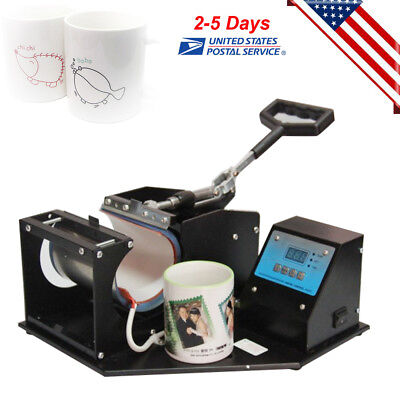 Dual Display Heat Press Transfer Sublimation Machine For Cup Coffee Mug Us Stock
