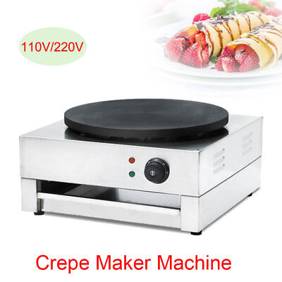 110v Commercial Electric Crepe Maker Machine Pancake Maker Single Hotplate 3 Kw