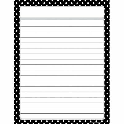 Black Polka Dots Chart - Black Polka Dots Lined Chart Teacher Created Resources TCR7677
