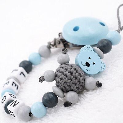 Schnullerkette mit Namen ★ Teddy Bär ★ grau blau Junge Babygeschenk Geburt