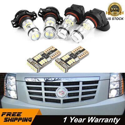 6x White LED Fog Driving DRL Light Bulbs Combo For 2007-2014 Cadillac Escalade