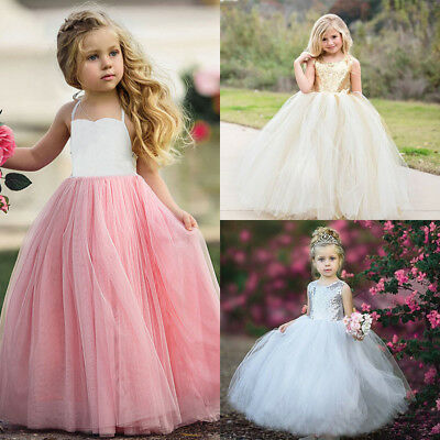 Flower Girl Princess Dress Kids Baby Party Wedding Bridesmaid Tulle Tutu Dresses