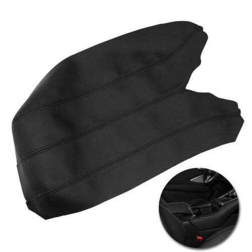 Center Console Lid Armrest Cover Skin Leather Black For