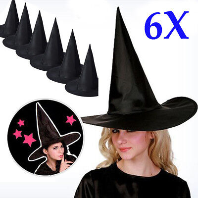 6PCS Adult Womens Black Witch Hat For Halloween Prop Costume Accessory Cap CO](Black Witch Hat)