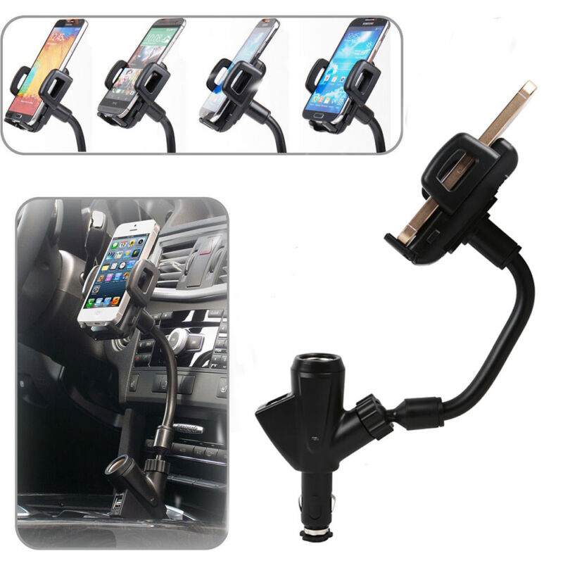 Dual USB Car Charger Cigarette Lighter Mount Holder For Cell
