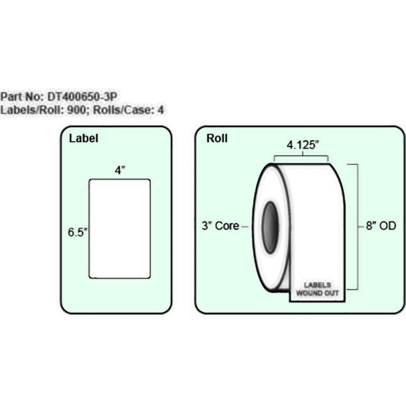 4x6.5 Direct Thermal Label with Perf, 900 Labels per roll, 4 rolls per case