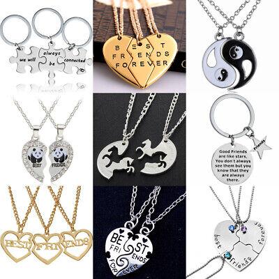 Best Friend Forever Best Bitches 3Piece Love Break Heart Friendship Necklace Set