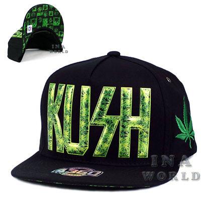Cannabis Marijuana hat cap KUSH Snapback Flat Hiphop bill- Black/Green