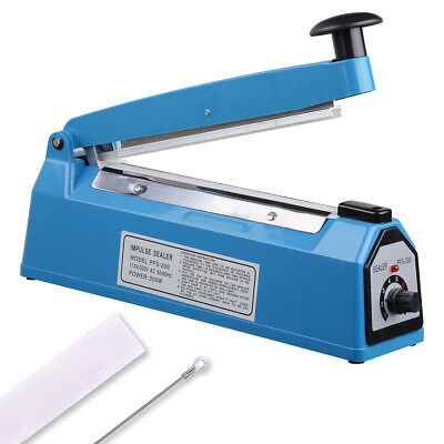 8 Heat Sealing Impulse Manual Sealer Machine Poly Tubing Plastic Bag Teflon