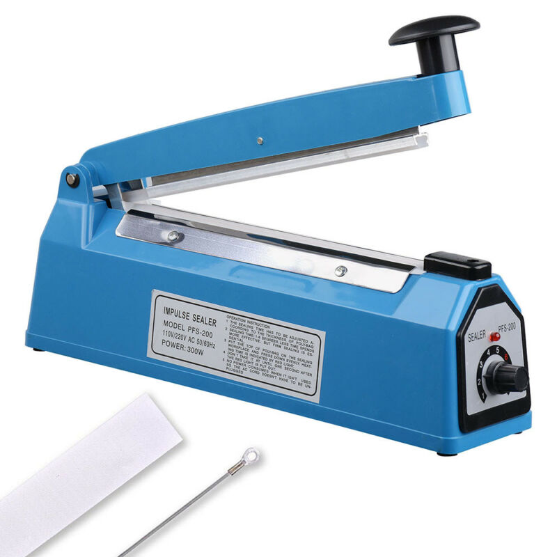 "8"" Heat Sealing Impulse Manual Sealer Machine Poly Tubing Plastic Bag Teflon"