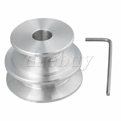 Silver Aluminum 2step Groove Fixed Bore Pulley 40x30x10mm For Round Belt