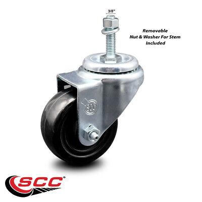 Hard Rubber Swivel Threaded Stem Caster W3.5 Wheel 38 Stem
