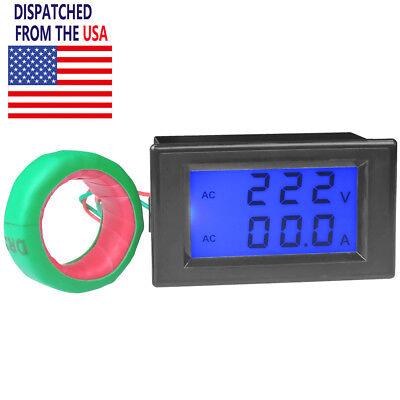 Digital Lcd Ac 80-300v 200-450v Volt Amp Meter Ammeter Voltmeter Panel 100a 200a
