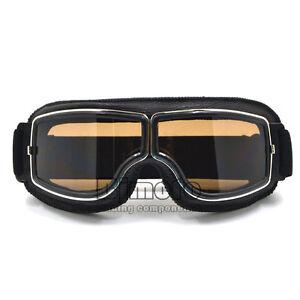 Leather Vintage Goggles Aviator Pilot Glasses Retro Helmet Driving Motorcycle