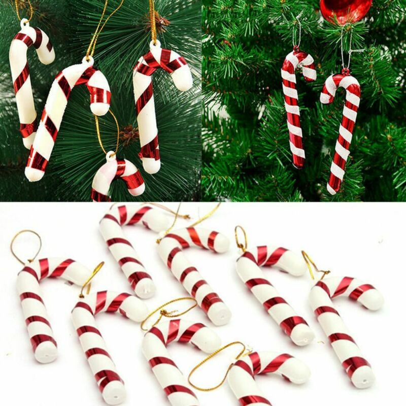 LOT 10 x Christmas Acrylic Candy Cane Xmas Tree Hanging NEU Ornament Decor P3L9