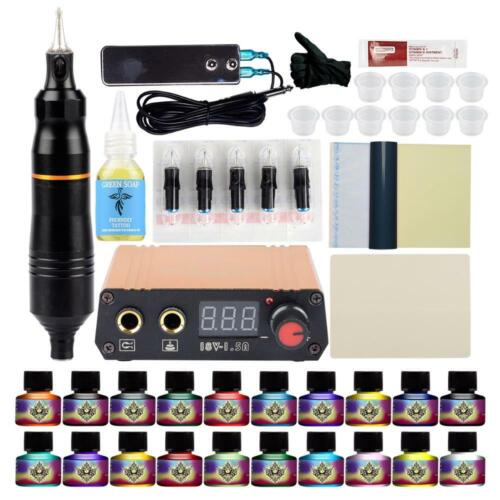 Tattoo Kit Rotary Machine LCD Power Supply Permanent Ink Complete Set 20 Ink