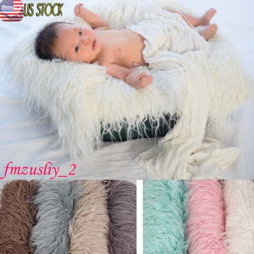 Soft Faux Fur Rug Mat Newborn Baby Photography Props Blanket Basket Stuffer