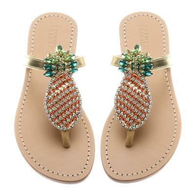 "MYSTIQUE ""Cabo San Lucas"" Jeweled Crystal Boho Gold Pineapple Sandals NEW 7 $195 comprar usado  Enviando para Brazil"