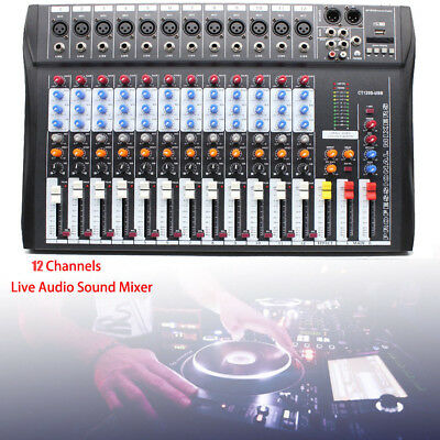 Mix Board - Professional Live 12 Channel Live Sound/Studio Mixing Board Mixer Live & Studio