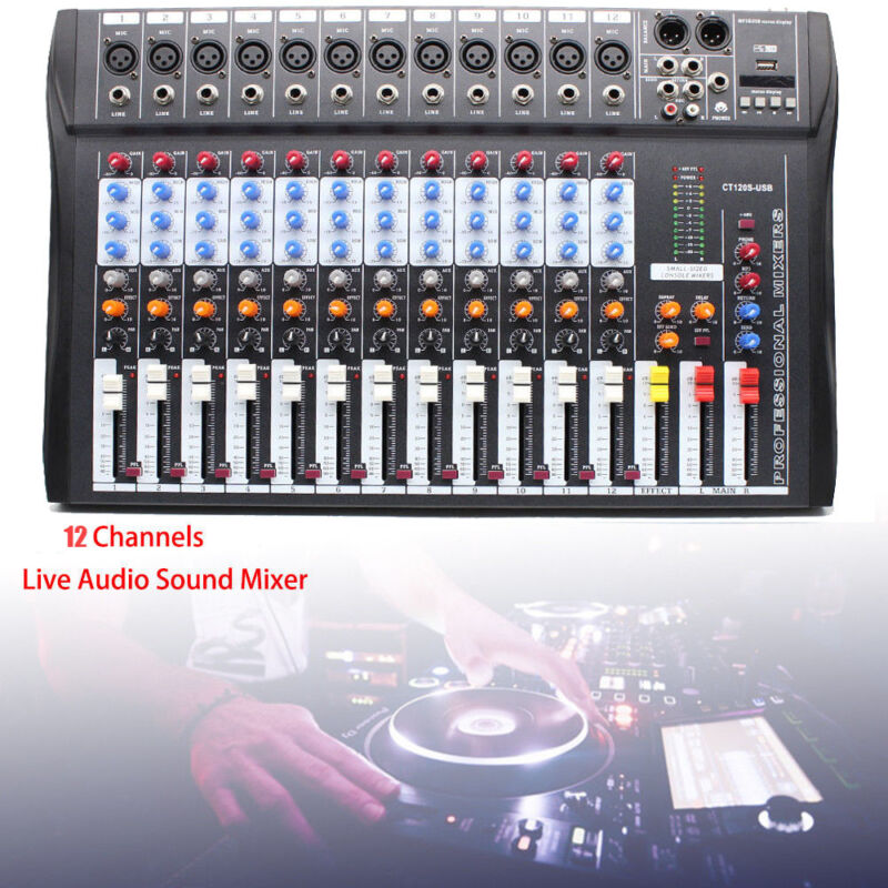 Professional Live 12 Channel Live Sound/Studio Mixing Board Mixer Live&Studio US
