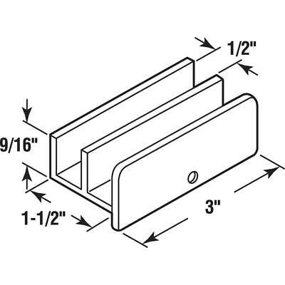 Sliding Shower Door Bottom Guide 12 In. Channels Plastic Construction Whit