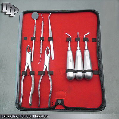 12 Sets 8 Basic Dental Surgery Extracting Extraction Forceps Elevators Set Kit