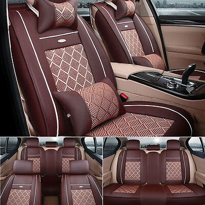 US SHIP Coffee Car PU Leather+Mesh Seat Cover Front+Rear+Pillow For Honda Toyota