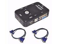 MT-VIKI - KVM Switch Box 2 Port USB 2.0 Plus 2x VGA Ports (Control 2 Computers)