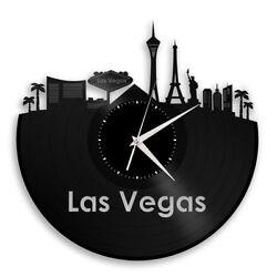 Las Vegas Vinyl Wall Clock City Skyline Travel Unique Gift Home Bedroom Decor