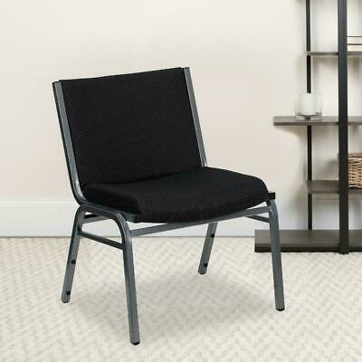 1000 Lb Capacity Big Tall Extra Wide Fabric Stack Chair W Bracket Black
