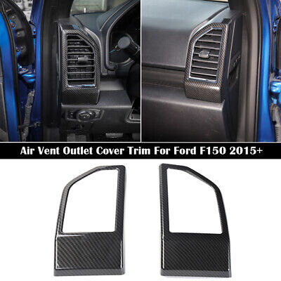 Carbon Fiber Dashboard Side Air Vent Outlet Cover Trim For Ford F150 2015-2019
