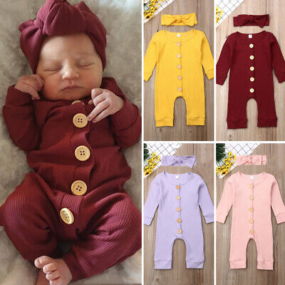 UK Newborn Baby Girl Boy Autumn Clothes Knitted Romper Jumpsuit 2PCS Outfits Set