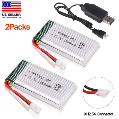 2x 1800mah 3.7V Lipo Battery 25C XH2.54 Off USB Charger for RC Quadcopter Drone
