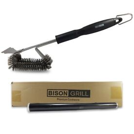 "BISON GRILL BBQ Grill Brush | 18"" Heavy Duty Stainless Steel Oven Kitchen Cleaning Brush Scraper"