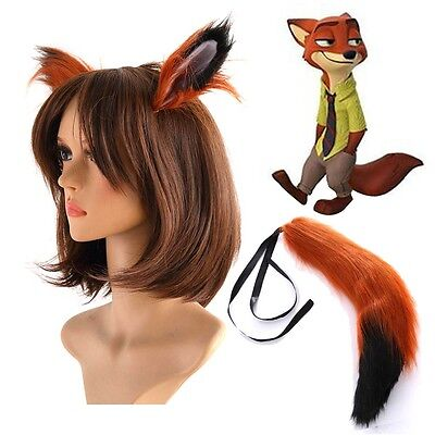 Hot Zootopia Fox Nick Wilde Cosplay Ears and Tail Costume Accessories 65cm long