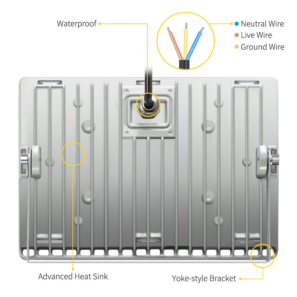 5x 100 Watt Slim High Power Led Flood Light Cool White Indoor Wiring Diagram Outdoor Fixtures
