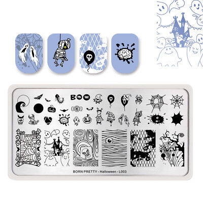BORN PRETTY Halloween Series L003 Nail Stamping Plates Spider Web Manicure Tips