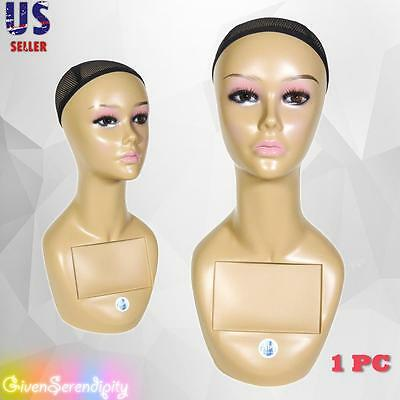 Realistic Plastic Female Mannequin Head Lifesize Display Wig Hat 18 A2
