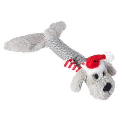 House of Paws Christmas Rope Doggy Dog Toy | Present Squeaky Tug Grey Medium