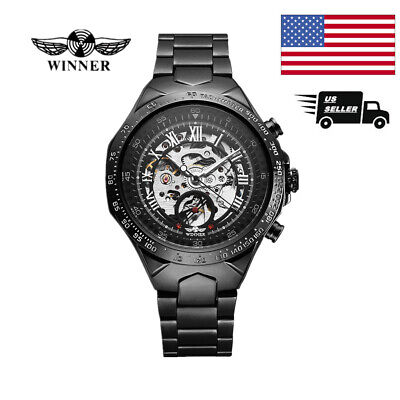 WINNER Men Business Semi-Automatic Mechanical Watch Hand-winding Skeleton (Automatic Winding Mechanical Watch)