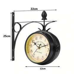 Outdoor Wall Clock Hanging Retro Double Sided Battery Powered Metal Mount Vintag