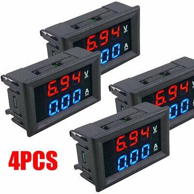 4pack Mini Dc 100v 10a Digital Voltmeter Ammeter Car Led Panel Amp Volt Tester
