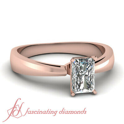 - Half Carat Radiant Cut Simple Comfort Fit Cathedral Rose Gold Engagement Ring