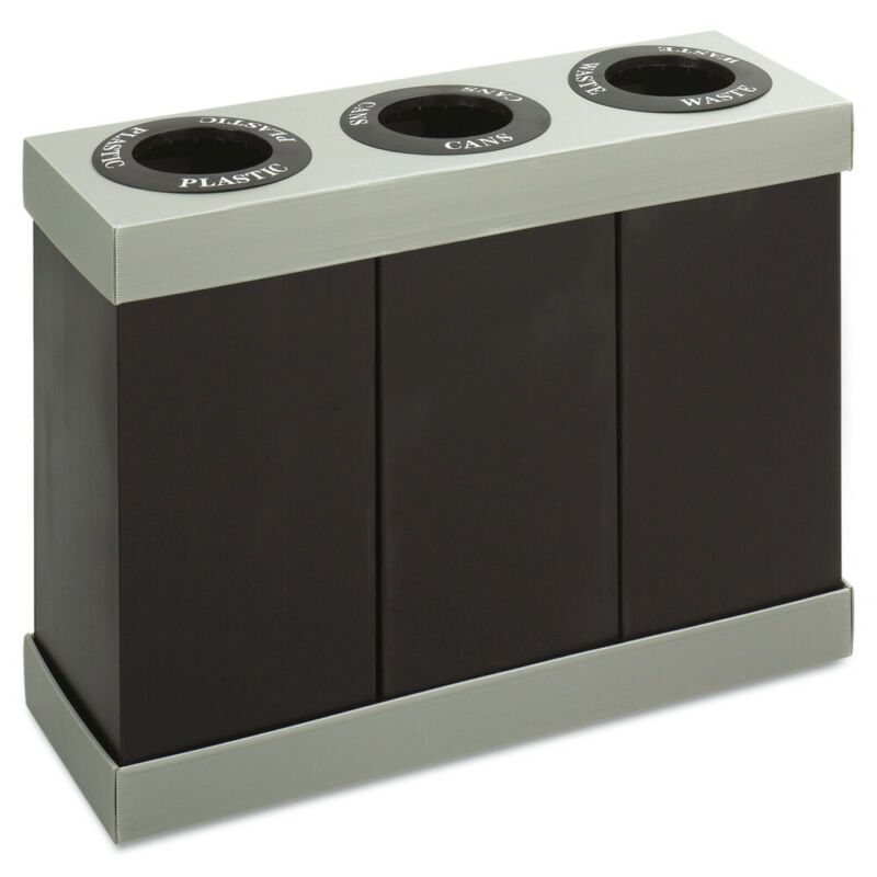Safco Recycling Center Polyethylene Three 84gal Bins Black 9798BL NEW