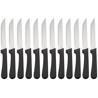 (Set of 12) Seratted-Like a cat on a hot tin roof Pointed-Tip Steak Knives, 5-Inch Stainless Steel Blade